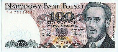 Poland 1988  100 Zlotych Currency Unc