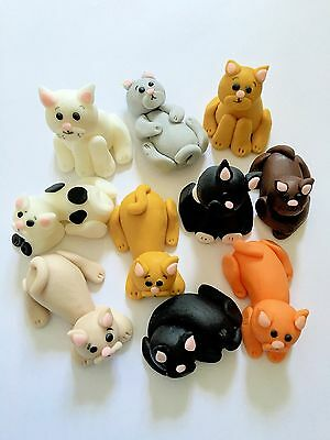 Edible Cat Set Cake Topper Icing Decoration