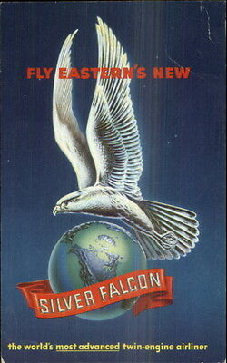Eastern Airlines Silver Falcon Emblem Adv Postcard