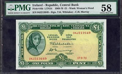 *1970 IRELAND REPUBLIC CENTRAL BANK 1 POUND PICK #64b PMG 58 PLEASE  LQQK!