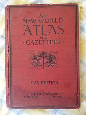 1925 Edition New World Atlas & Gazetteer Maps World Info RR Info Cities Towns