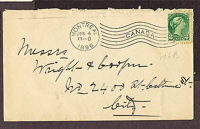Canada Montreal Wavy Machine Cancel Advertising Small Queen 1896 ,5