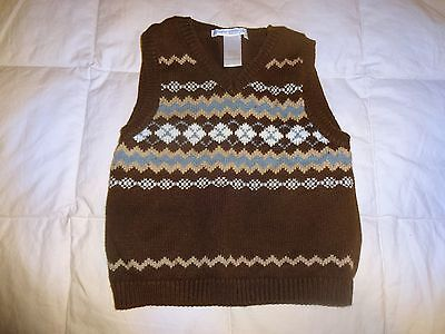 Janie & Jack boys sweater vest, Dark Brown w/blue, size 12-18 months