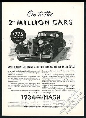 1934 Nash Ambassador giant black car photo vintage print ad
