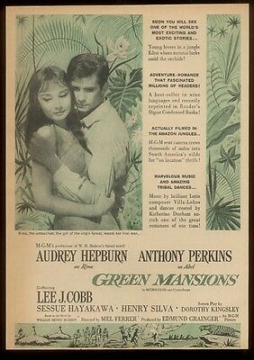 1958 Audrey Hepburn Anthony Perkins photo Green Mansions movie release ad