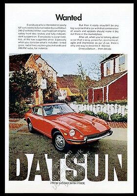 1972 Datsun 240-Z 240Z red car photo 'Wanted' vintage print ad