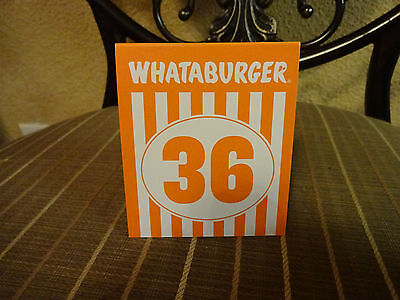 Whataburger Fast Food Plastic Table Tent Serving Number 36