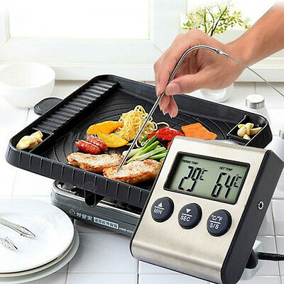 Digital LCD Thermometer Timer for BBQ Grill Meat Kitchen Oven Food Cooking 1pc