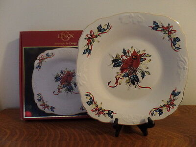 """Lenox Winter Greetings Cardinal Carved Square Platter 11.5"""" with Box"""