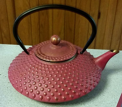 Vintage Cast Iron Japanese Chinese Teapot Pink with Black & Gold Trim