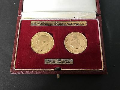 1916 1966 22Kt GOLD SOUTH AFRICA 2r COINS  King George V Perth Mint Sovereign