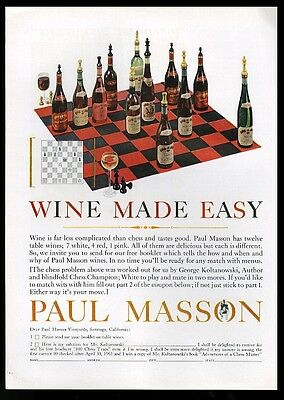 1961 Paul Masson wine George Koltanowski chess puzzle photo print ad