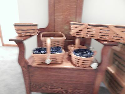 Longaberger lot of baskets with blue accents 12 pieces total