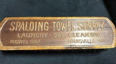 Vtg Wooden Advertising Clothes Brush SPALDING SUPPLY Dry Cleaners Louisville KY