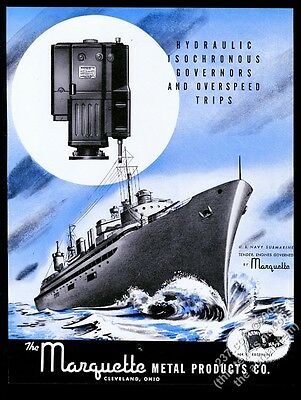 1943 US Navy submarine tender ship art Marquette metal products vintage print ad
