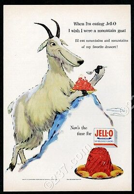 1955 Jello Jell-O hungry mountain goat art vintage print ad