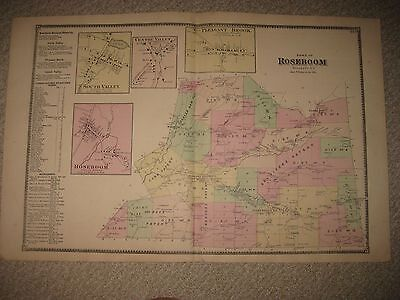 Antique 1868 Roseboom South Valley Otsego County New York Handcolored Map Superb