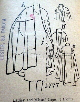RARE VTG 1920s CAPE Sewing Pattern BUST 40 OLD DEADSTOCK