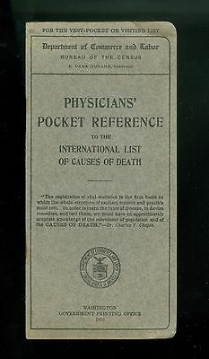 1910 Booklet Physician's Reference Intern'l. Causes Of Death