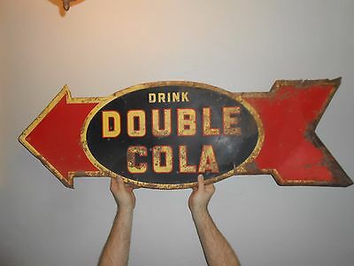 RARE Vintage Original DOUBLE COLA SODA POP Advertising ARROW DIRECTIONAL SIGN