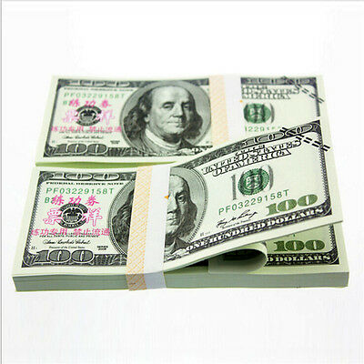 100Pcs $100 Dollars Paper Money Bank USA New Training Collect Learning Banknotes