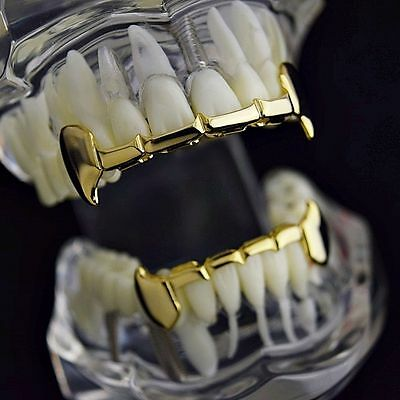 14K Gold Plated Hip Hop Half Fangs Tooth Teeth Grillz Caps Top & Bottom Grill
