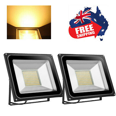 2X 100W LED Flood Light IP65 Warm White Project Lamp Outdoor Spot Light 220-240V