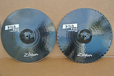 "ZILDJIAN 15"" PITCH BLACK MASTERSOUND HI HAT CYMBALS or HATS! LOT #C989"