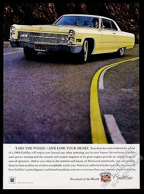 1966 Cadillac coupe yellow car photo vintage print ad