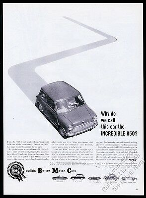 1960 Austin 850 original Mini Cooper car photo print ad