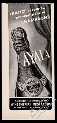 1946 Ayala champagne bottle photo vintage print ad