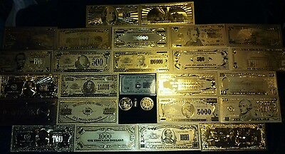 Mint Gold Banknote Set$1-$1M W/coa+More See What Bills Above$100 Look Like