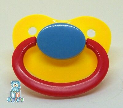 Adult Baby Large silicone pacifier yellow/blue/red *Big Tots*