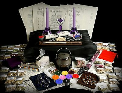 HUGE WITCHES STARTER & ALTAR SET Herb kit Wicca Pagan Wand Pentacle Cauldron