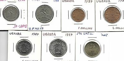 Uganda Lot Of 7 Different Coins