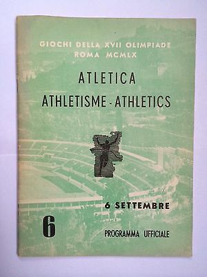 1960 ROME OLYMPICS ATHLETICS PRPOGRAMME FROM SEPTEMBER 6th
