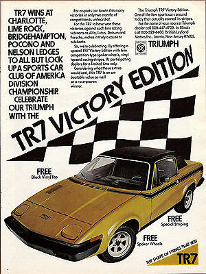 1976 Triumph TR7 Sports Car AD Yellow w/ Black Vinyl Top