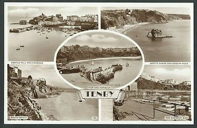 Tenby Pembrokeshire Multiview 1956 Real Photo Postcard