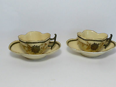 Stunning Vintage China Coffee Cups & Saucers With Gold & Silver Decoration