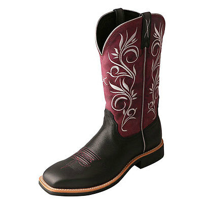 WTH0010 Twisted X Women's Top Hand Boot – Softy Black/Maroon NEW