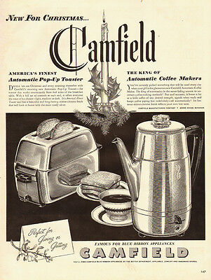 1940s vintage Ad, Camfield Toasters, Coffee Makers, nice art!   120813