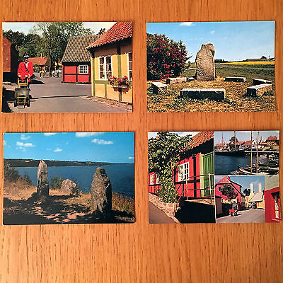 Collection of 4 Vintage Postcards from Bornholm - Denmark 1960s or 70s