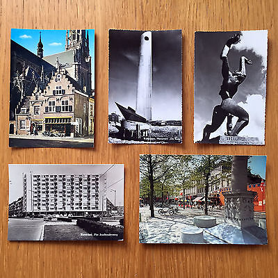 Collection of 5 Vintage Postcards from Holland - 1960s or 70s Rotterdam + Breda