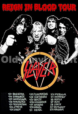 Slayer Concert Poster Reign In Blood Tour  A3 Repro