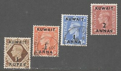 Kuwait Stamps #79,93-94,96  (4) King Geo  Values --  Used
