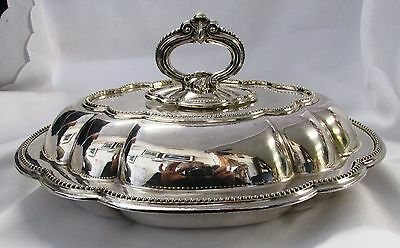 A Vintage, Lidded, Oval, Fancy Silver Plated Serving Dish, Serving Tureen M.b.