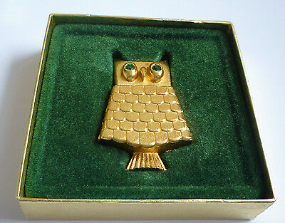Stunning Vintage Avon Owl Brooch with  Solid Perfume Boxed Goldtone Metal