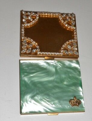 2 Vintage Powder Compacts Green Pearlized Lucite Gold Crown & Rhinestone Studded