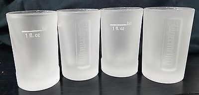 4 Jagermeister Frosted Shot Glasses 1 oz Logo Embossed Set