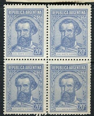 ARGENTINA;  1935 early Guemes issue fine Mint BLOCK of 4 , 20c.